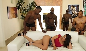Youthful latina with corroded nipples enjoys interracial group-sex