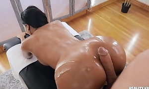 Tanned brunette nearly operation tits banged by her masseur