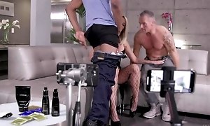 Blonde hoe invites over two unintentional dudes relating to get drilled