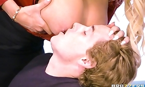 Brazzers trainer with massive tits and ass rides student on her chest of drawers