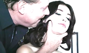 Dark-haired babe with natural tits gets fucked away from horny policeman