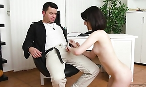 Dark-haired cutie with natural heart of hearts does anal with a fine pleasure