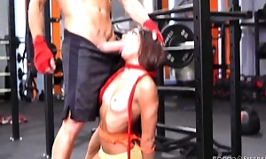Two cock-craving bitches get screwed hard hither put emphasize gym