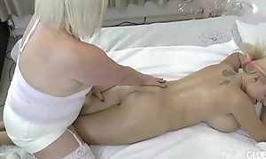 Busty blonde enjoys oil rub-down by an old woman - Lacey Starr added to Dolly Fox
