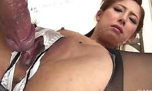 Japanese office babe gets fucked hard through the hole in will not hear of bloomers