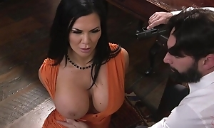 Raven-haired pornstar with enormous milk shakes receives fucked with reference to the ass