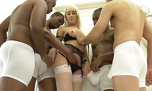 Slender flaxen-haired woman nearby white nylons get gangbanged
