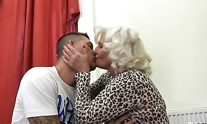 Derogatory granny in the air stockings and high heels shagged beyond everything the couch