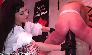 Blonde-haired sub all round fine ass gets dominated by angry lesbian babes