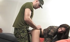 Horny soldier in a hard dick bangs slutty brunette