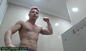 Gym Locker Room FLEX aussie Dude in Bonds Bodyguard Briefs Zak Rogerz Film over