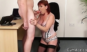 Hot idol gets cum shot on her facet sucking on all sides the jism