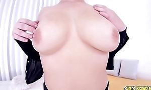 Teeny-weeny big tit blonde Velvet Rain big dick POV blowjob