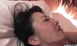 Hairy Japanese chick with beamy boobs pussy drilled missionary style